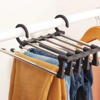 Вешалка для брюк new rack metal | Тремпель для штанов 5 в 1 | Плечики для одежды черная