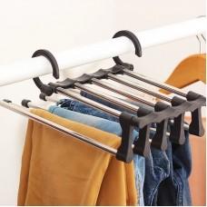 Вешалка для брюк new rack metal   Тремпель для штанов 5 в 1   Плечики для одежды черная