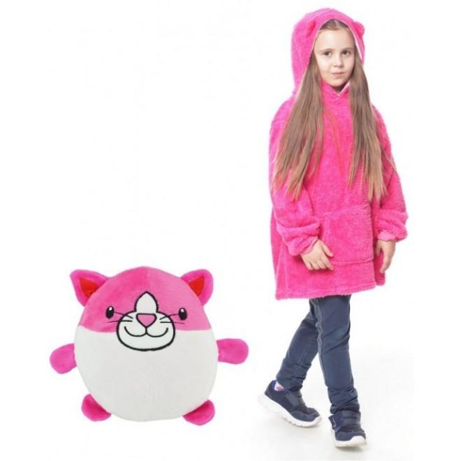Детская толстовка халат плед трансформер с капюшоном и рукавами Huggle Pets Детская Толстовка Худи розовая