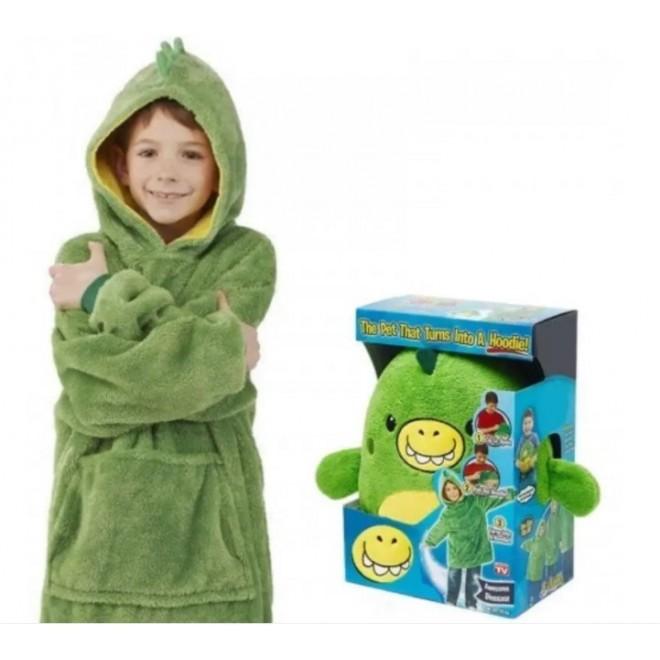 Детская толстовка халат плед трансформер с капюшоном и рукавами Huggle Pets Детская Толстовка Худи зеленая