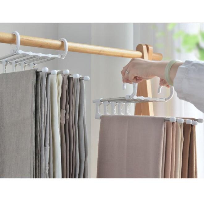 Вешалка для брюк new rack metal   Тремпель для штанов 5 в 1   Плечики для одежды белая