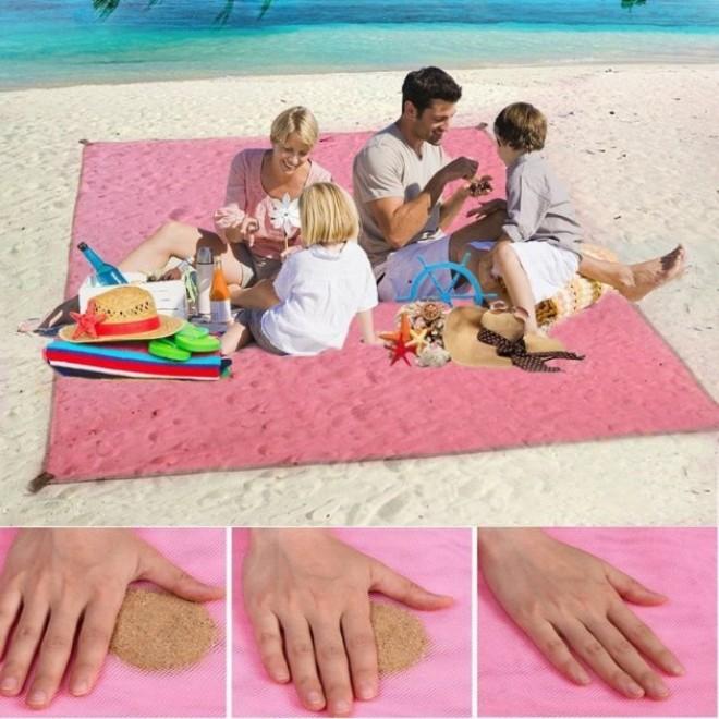 Пляжная подстилка, пляжный коврик антипесок, пляжний килимок sand mat | 150х200 см розовый
