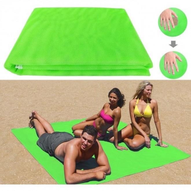 Пляжная подстилка, пляжный коврик антипесок, пляжний килимок sand mat | 200х200 см зеленый