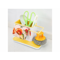 Кухонный органайзер  на раковину 3 в 1 бело-желтый