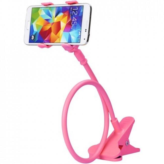 Гибкий держатель для телефона с прищепкой Lazy Bracket розовый