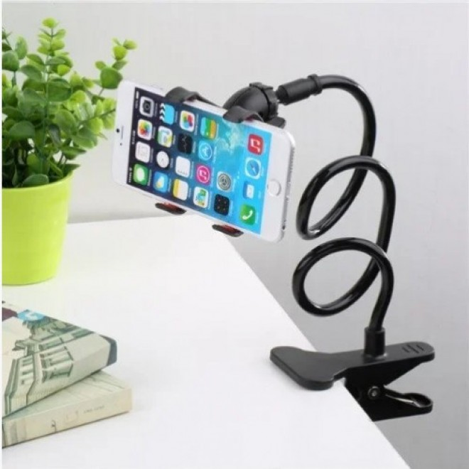 Гибкий держатель для телефона с прищепкой Lazy Bracket черный