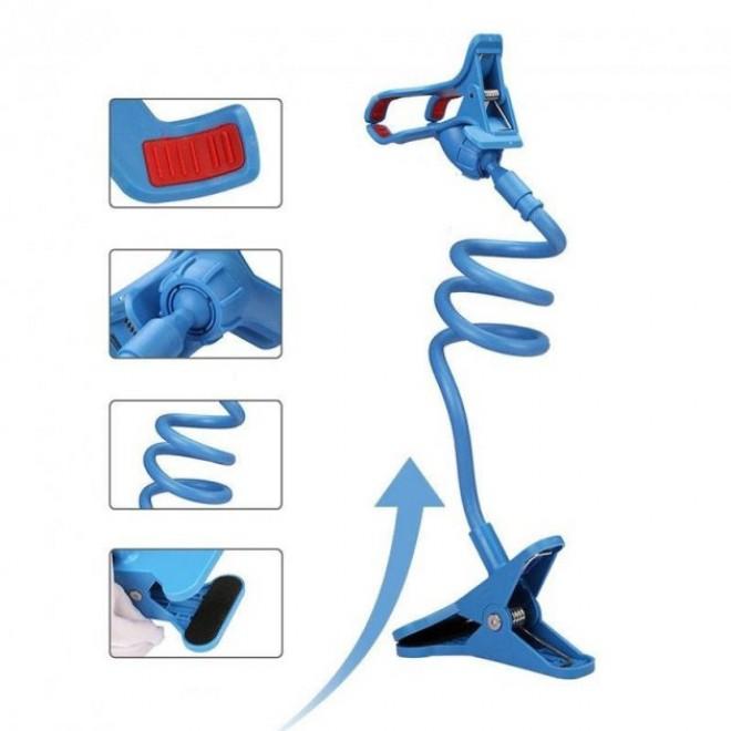 Гибкий держатель для телефона с прищепкой Lazy Bracket синий