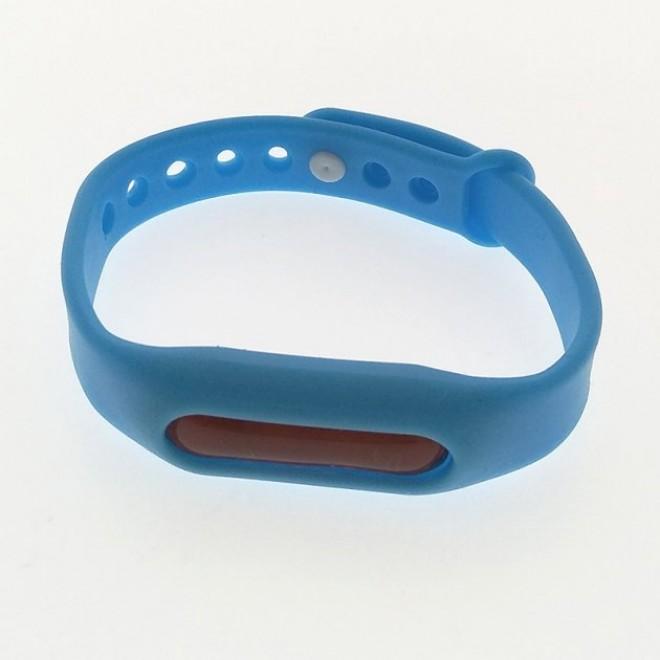 Силиконовый браслет ремешок от комаров и насекомых с капсулой Ball синий