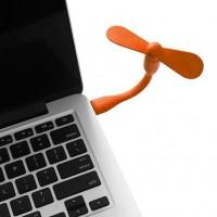 Портативный гибкий USB мини-вентилятор для ноутбука оранжевый