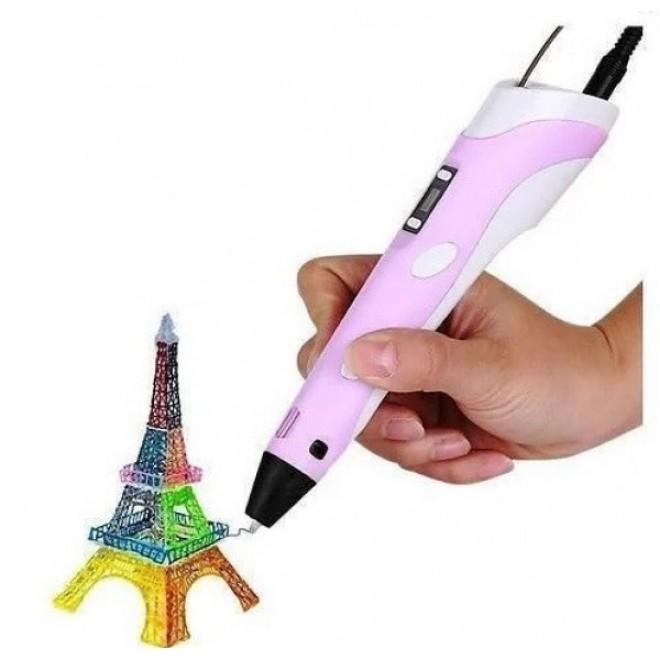 3Д ручка для рисования с LED дисплеем 3D Pen 2 Розовая