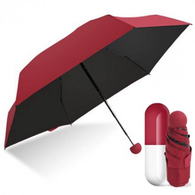 Зонтик-капсула, Карманный женский мини-зонт в капсуле, Капсульный зонтик, Мини зонтик складной бордо