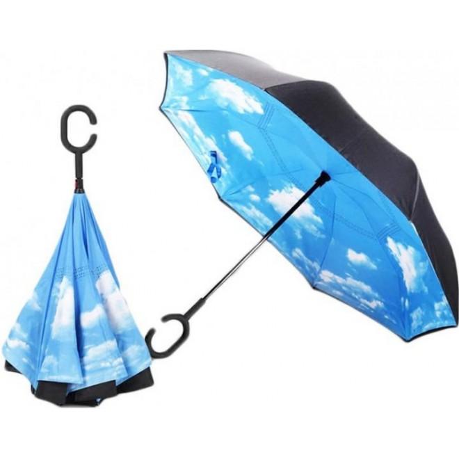 Зонтик автомат Umbrella НЕБО, зонт перевертыш, умный зонт наоборот.
