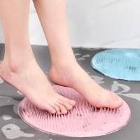 Антискользящий круглый коврик для ванной  на липучках. Щетка-коврик для ванной