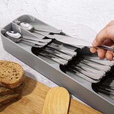 Органайзер Лоток для столовых приборов Compact Cutlery Organiser серый
