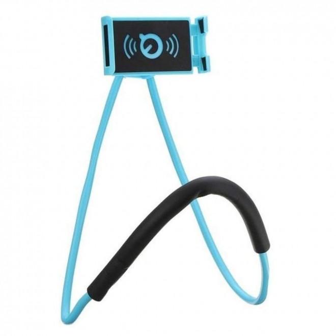 Гибкий держатель для телефона на шею Holder голубой