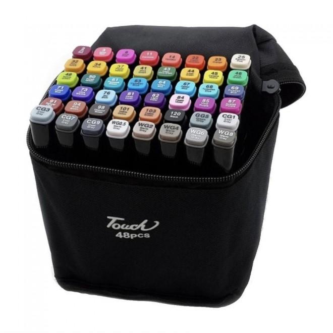 Набор двусторонних скетч маркеров Touch для рисования 48 шт.