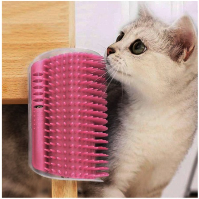 Игрушка-массажер для кошек с креплением к стене Cat It, чесалка, щетка розовая