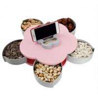 Менажница для закусок с подставкой для телефона. Вращающаяся тарелка органайзер для фруктов и сладкого  (одноярусная)