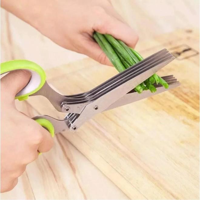 Кухонные ножницы для зелени Herb Scissors 5 острых лезвий + щетка для чистки