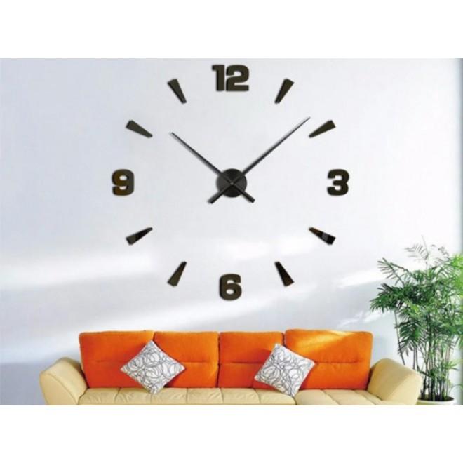 Большие настенные часы 3D DIY Clock с арабскими цифрами черные