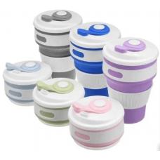 Складная силиконовая чашка с крышкой Collapsible Coffe Cup 350 ml., силиконовая складная кружка для путешествий