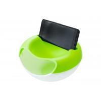 Миска для семечек с подставкой для телефона зелено-белая