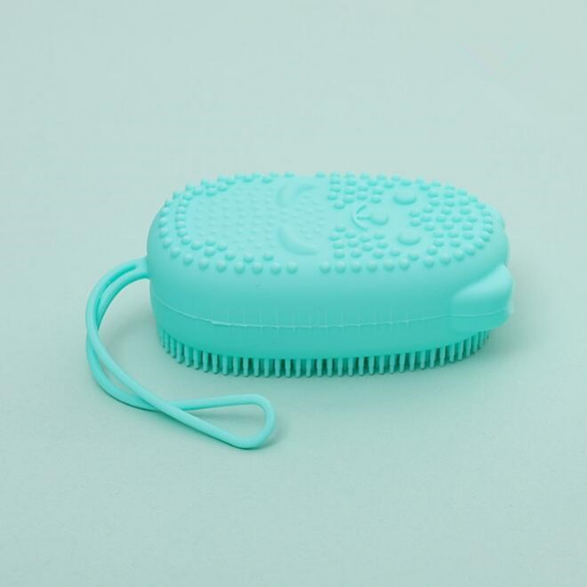 Двухсторонняя силиконовая мочалка для тела Bath Brush с губкой зеленая