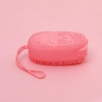 Двухсторонняя силиконовая мочалка для тела Bath Brush  с губкой розовая