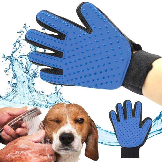 Перчатка для вычесывания шерсти True Touch домашних животных, перчатка для чистки животных, фурминатор