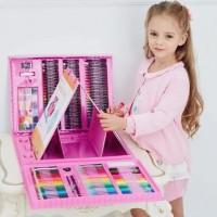 Детский набор для рисования  на 208 предметов с мольбертом в чемоданчике розовый