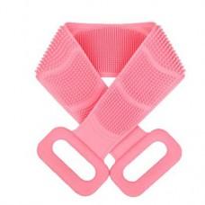 Двухсторонняя силиконовая мочалка-массажер для тела Silica Gel Bath Brush розовая