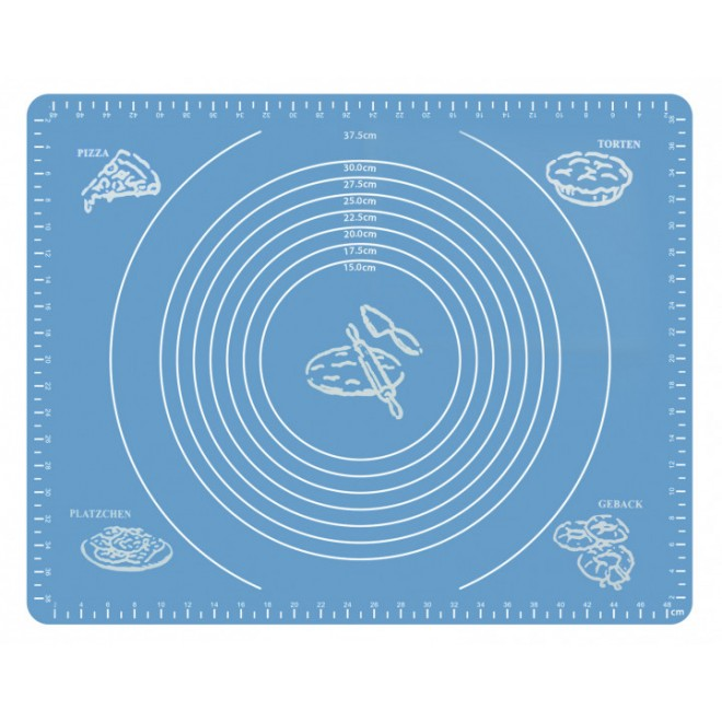 Силиконовый коврик Silicon mate testa для раскатки и выпечки теста 40 х 50 см голубой