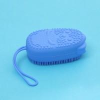 Двухсторонняя силиконовая мочалка для тела Bath Brush  с губкой голубая