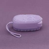 Двухсторонняя силиконовая мочалка для тела Bath Brush  с губкой фиолетовая