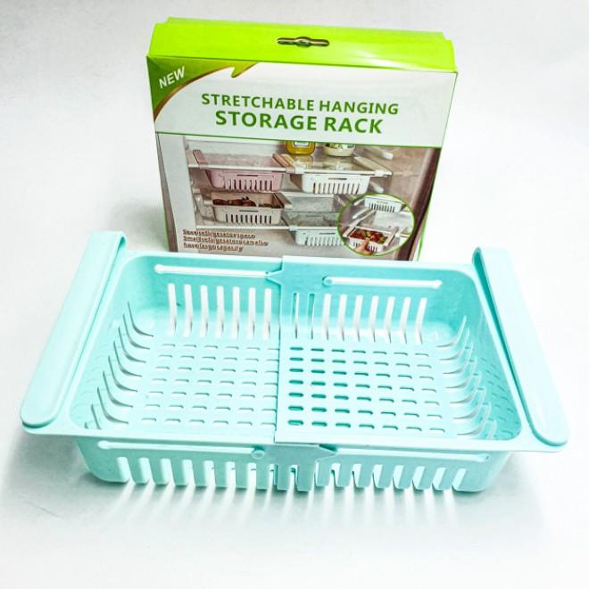Раздвижной пластиковый контейнер для хранения продуктов в холодильнике Storage rack голубой
