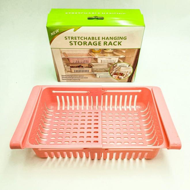 Раздвижной пластиковый контейнер для хранения продуктов в холодильнике Storage rack розовый