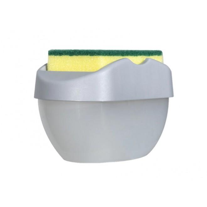 Новинка. Нажимной Дозатор диспенсер для моющего средства с местом для губки SOAP PUMP SPONGE CADDY серый