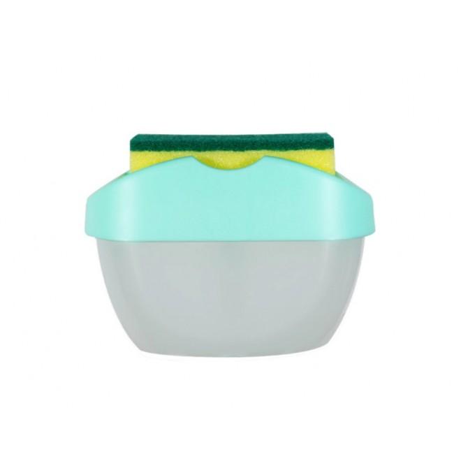 Новинка. Нажимной Дозатор диспенсер для моющего средства с местом для губки SOAP PUMP SPONGE CADDY зеленый