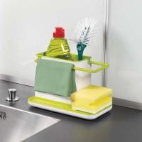 Кухонный органайзер  на раковину 3 в 1 бело-зеленый