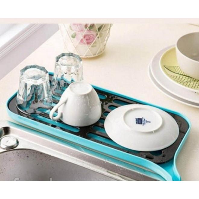 Сушилка посудная со сливным носиком голубая