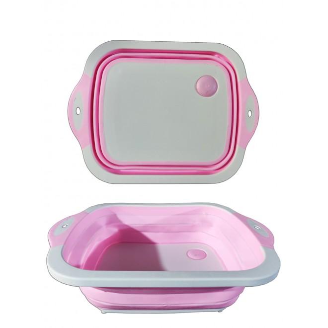Доска разделочная 4 в 1, доска разделочная складная, миска доска, доска для кухни, доска трансформер розовая