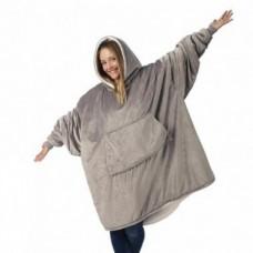 Плед толстовка двухсторонняя Huggle Hoodie халат с капюшоном и рукавами унисекс серый