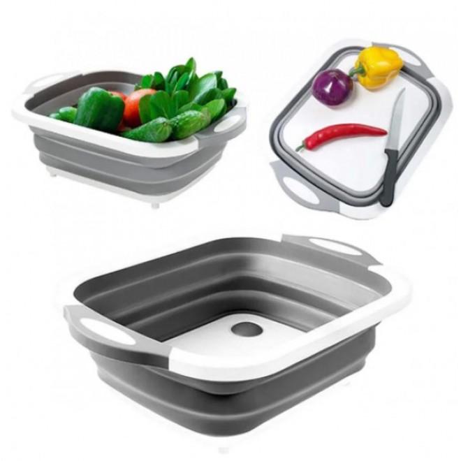Доска разделочная 4 в 1, доска разделочная складная, миска доска, доска для кухни, доска трансформер серая