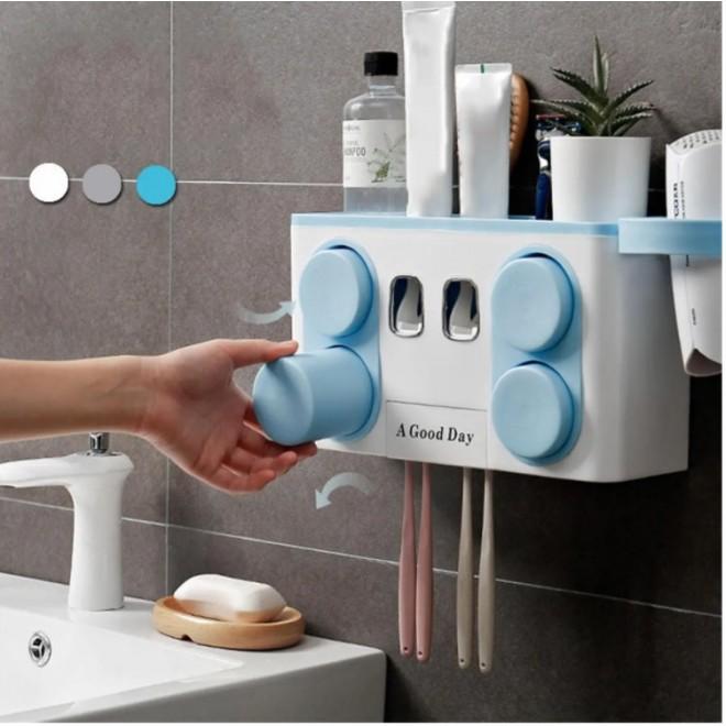 Автоматический диспенсер для зубной пасты 4 в 1. Держатель для щеток , фена, 4 стакана голубой