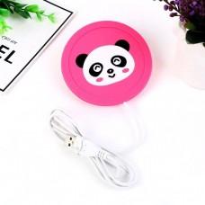 Силиконовая USB подставка для чашки с подогревом Coaster Pad (под чашку кружку)  Panda розовая
