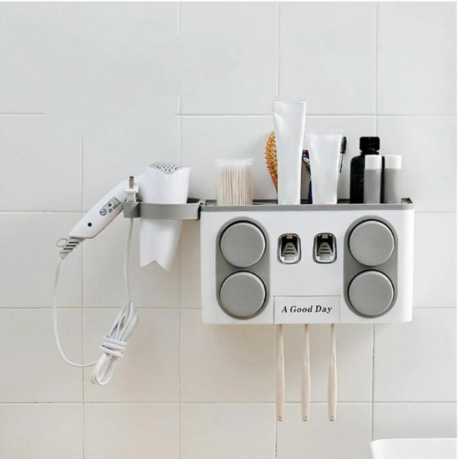 Автоматический диспенсер для зубной пасты 4 в 1. Держатель для щеток , фена, 4 стакана серый