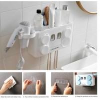 Автоматический диспенсер для зубной пасты  4 в 1. Держатель для щеток , фена, 4 стакана белый.