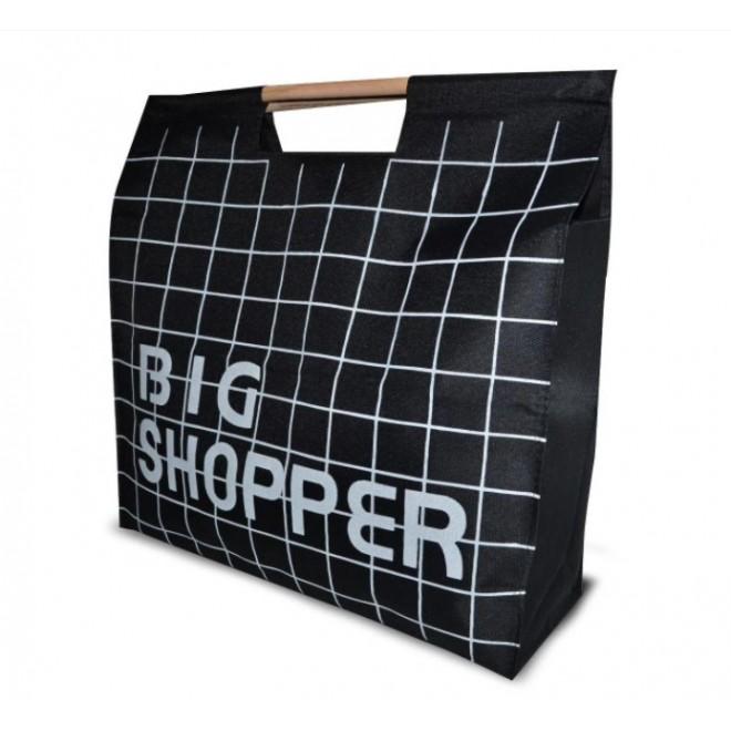 Сумка для покупок Шоппер с деревянными ручками черная