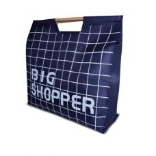 Сумка для покупок Шоппер с деревянными ручками синяя