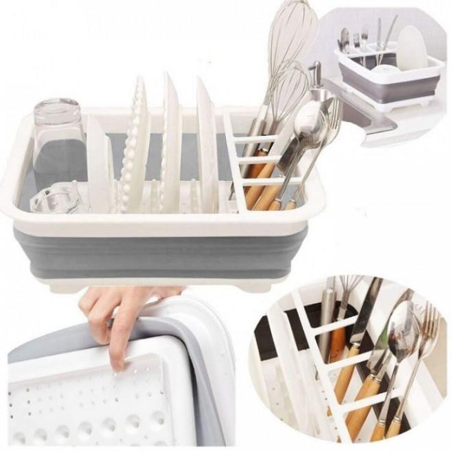 Мультифункциональная складная сушилка органайзер для посуды и кухонных приборов серая. Складной кухонный держатель для посуды Filter bowl rack